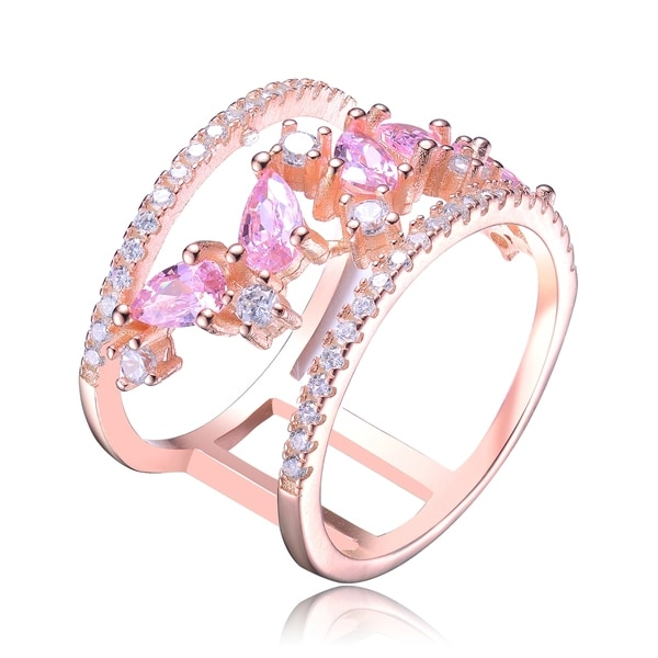 Collette Z Rose Gold Plated Red and Clear Cubic Zirconia Accent Ring. Opens flyout.