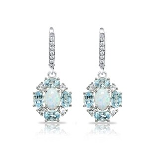 Glitzy Rocks Simulated Opal & Blue Topaz Oval Leverback Earrings with White Topaz Accents in Sterling Silver