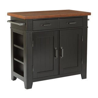 INSPIRED by Bassett Urban Farmhouse Black Kitchen Island with Vintage Oak Top