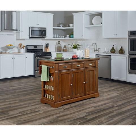 INSPIRED by Bassett Farmhouse Basics Vintage Oak Kitchen Island with Inlaid Granite Top
