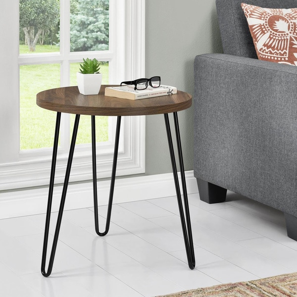 Avenue Greene Isaac Retro Round End Table by Avenue Greene