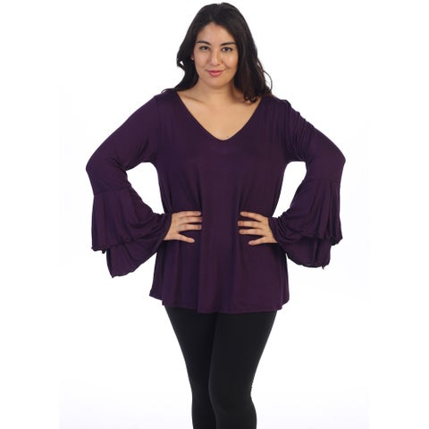 Women's Plus Size Layered Bell Sleeve Top
