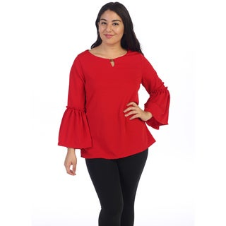 Women's Ruffled Flare Sleeve Plus Size Top