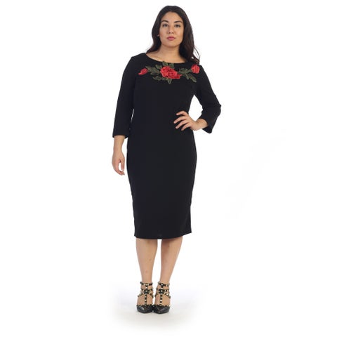 Women's Plus Size Midi Dress with Floral Applique