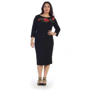 Women's Plus Size Midi Dress with Floral Applique