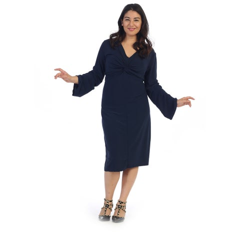 Women's Plus Size Knotted Front Midi Dress