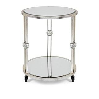 Urban Designs Grace Mobile 27-Inch Silver Leaf Round Accent Table