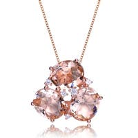Collette Z Rose Gold Plated Morganite Cubic Zirconia Accent Pendant Necklace