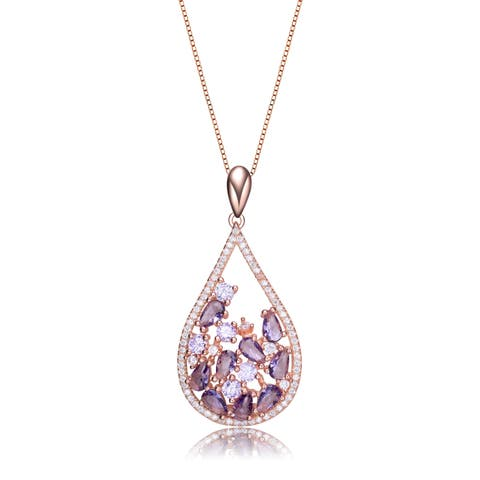Collette Z Rose Gold Plated Teardrop Shaped Pendant Necklace
