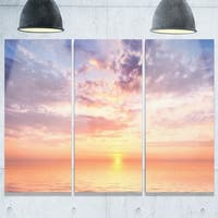 Designart - Cloudy Blue Sky and Ideal Sunset - Extra Large Seascape Glossy Metal Wall Art