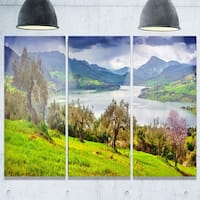 Designart - Lake Rosamarina Panorama - Landscape Photo Glossy Metal Wall Art