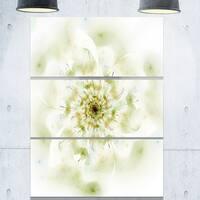 Full Bloom Fractal Flower in White - Flower Large Metal Wall Art - 36Wx28H