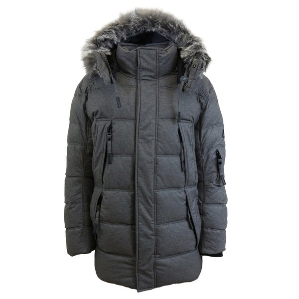 Spire by Galaxy Mens Heavyweight Parka Jacket with Detachable Hood
