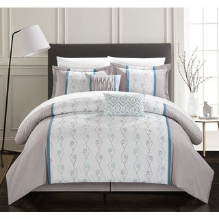 Chic Home Yohan Grey Color Block Embroidered 10-piece Bed in a Bag