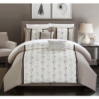 Chic Home Yohan Beige Color Block Embroidered Bed in a Bag 10 Piece Comforter Set
