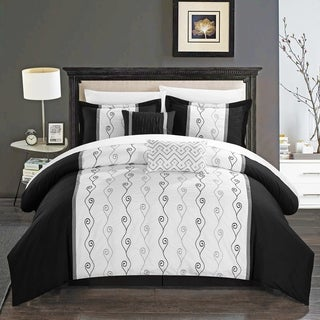 Chic Home Yohan Black Embroidered Bed in a Bag 10 Piece Comforter Set