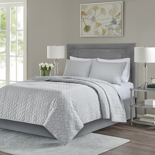 Madison Park Addie Grey 3-Piece Coverlet Set