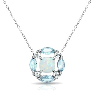 Glitzy Rocks Simulated Opal Blue Topaz Necklace With White Topaz Accents In Sterling Silver