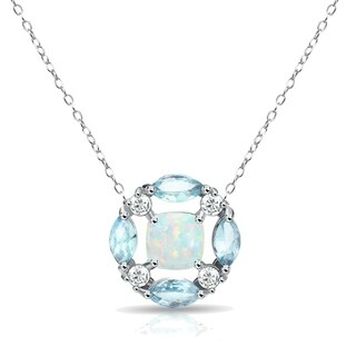 Glitzy Rocks Simulated Opal & Blue Topaz Necklace with White Topaz Accents in Sterling Silver