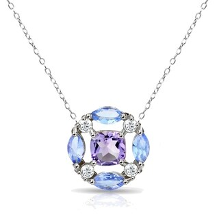 Glitzy Rocks African Amethyst & Tanzanite Tonal Necklace with White Topaz Accents in Sterling Silver