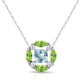 Glitzy Rocks Blue Topaz & Peridot Necklace with White Topaz Accents in Sterling Silver