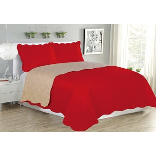 Sherry 3-piece Solid Reversible Quilt and Sham Set