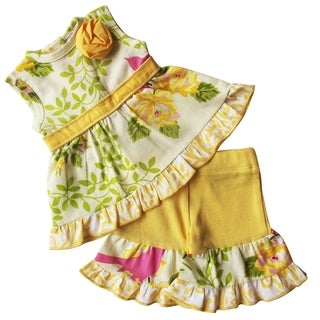 AnnLoren Yellow Spring Birds & Floral Two Piece Set fits 18 inch Dolls
