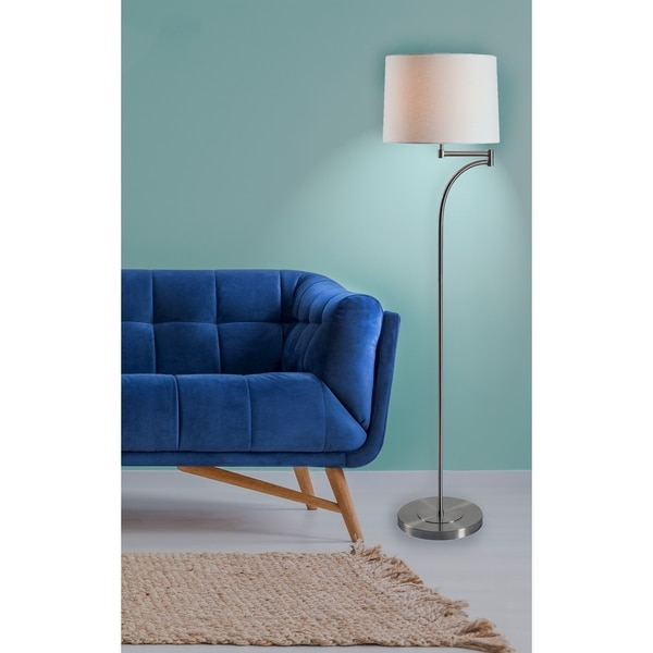 "Siete 59.11"" Brushed Steel Floor Lamp"