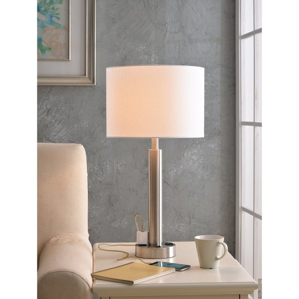 "Design Craft Nora 27"" Brushed Steel Table Lamp - 2 Outlets"