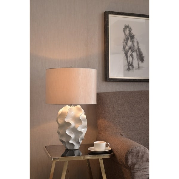 "Design Craft Madelyn 25"" Table Lamp - Glossy White Ceramic"