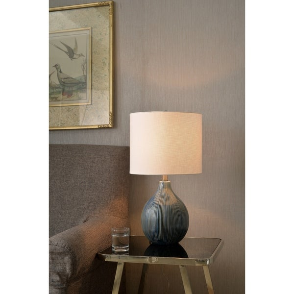 "Sadie 22.25"" Distressed Blue Ceramic Accent Lamp"