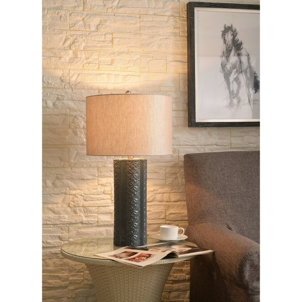 "Isabella 27"" Table Lamp - Glossy Gray Ceramic"