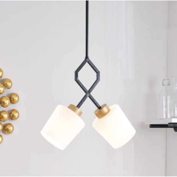 "Cosgrove 14"" Gold and Matte Black 2 Light Pendant"