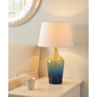 "Design Craft Maya 26"" Teal Ombre Mercury Glass Table Lamp"