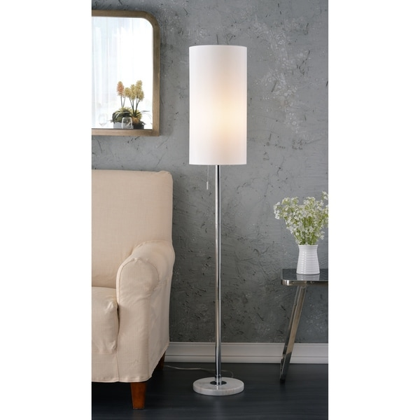 Design Craft Aria White and Chrome Fabric and Metal 59.5-inch Floor Lamp