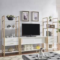 Shiloh Contemporary White and Gold Entertainment Center by iNSPIRE Q Bold
