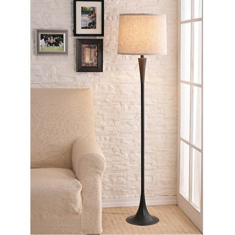 """Delilah 60"""" Mahogany Finished Wood and Oil Rubbed Bronze Floor Lamp"""
