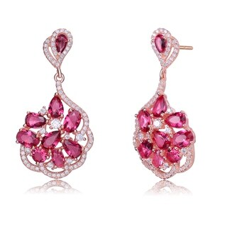 Collette Z Sterling Silver with Rose Gold Plated Red Pear and Oval with Clear Round Cubic Zirconia Drop Earrings