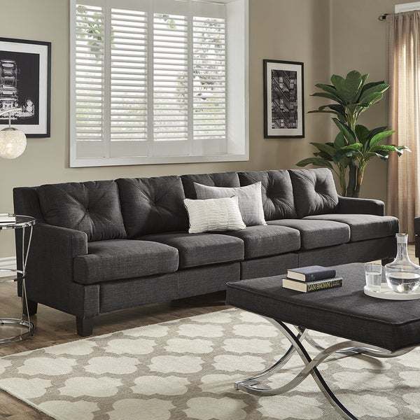 Lovely Elston Dark Grey Linen Extra Long Sofas By INSPIRE Q Modern
