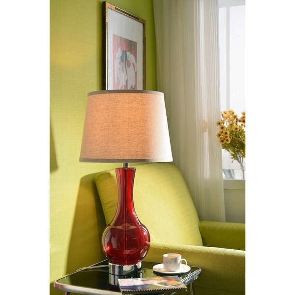 """Lucy 28.75"""" Table Lamp - Red Glass"""