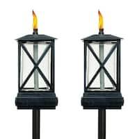 TIKI® Brand 65-inch Square Beacon Metal Torch Black 2-pack