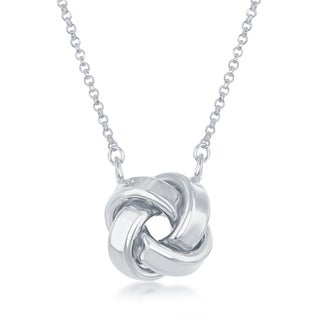 La Preciosa Sterling Silver, Rose Gold, or Gold Plated Italian High Polish 3D Love Knot 16+2'' Necklace