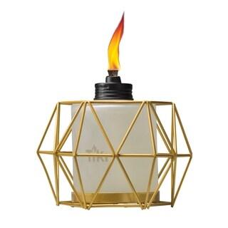 TIKI® Brand 5.5-inch Geo Globe Metal Table Torch Gold
