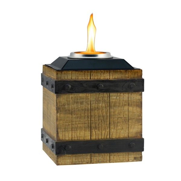 TIKI® Brand 7 Inch Clean Burn Fire Crate Resin Table Torch Brown