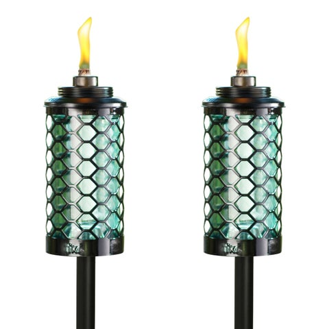 TIKI® Brand 65-inch Honeycomb Glass Torch Blue 2-pack