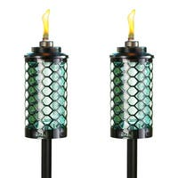 TIKI® Brand 65-inch Honeycomb Glass Torch Blue 2-pack