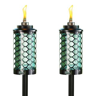 Outdoor floor lamps other outdoor lighting for less overstock tiki brand 65 inch honeycomb glass torch blue 2 pack aloadofball Image collections