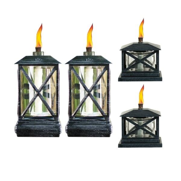 TIKI® Brand 65-inch Square Beacon Metal Torch 2-pk and Lantern Table Torch 2-pk