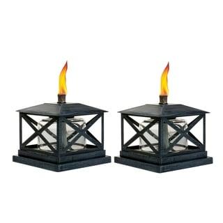 TIKI® Brand 5.5-inch Petite Lantern Metal Table Torch Black 2-pack