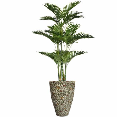 "69"" Tall Palm Tree with Burlap Kit and Fiberstone planter"